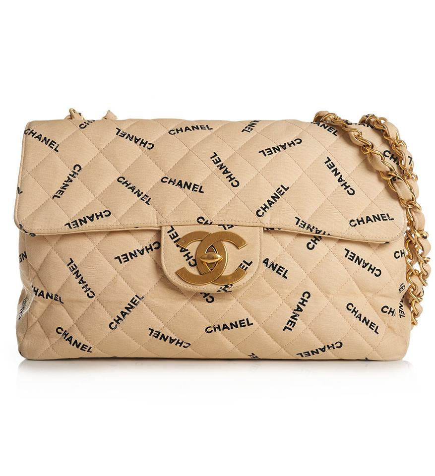 90c585779d955a Chanel Vintage Quilted Logo Jumbo Single Flap Beige Canvas Leather ...
