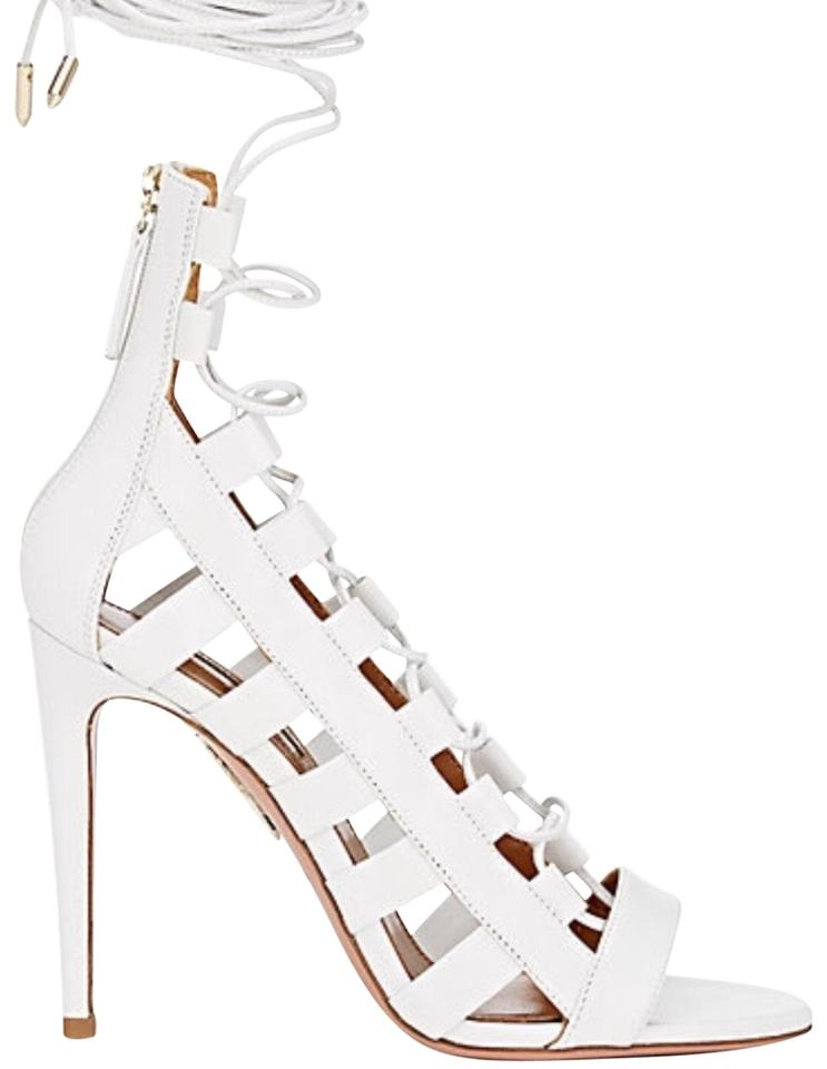"cd6a3cd8919 Aquazzura White 105 Leather ""amazon "" Sandals Pumps Size EU 38.5 ..."