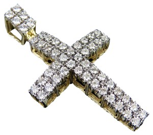 Jewelry Unlimited 10K Yellow Gold Real Diamond Two Row Dome Cross Pendant 1 1/4 CT 1.75""