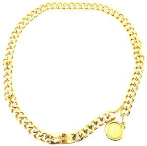 Chanel #16039 CC long medallion wide chain gold necklace belt two way