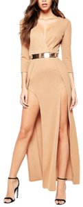 ASOS Thigh High Holiday Belted Front Split Dress