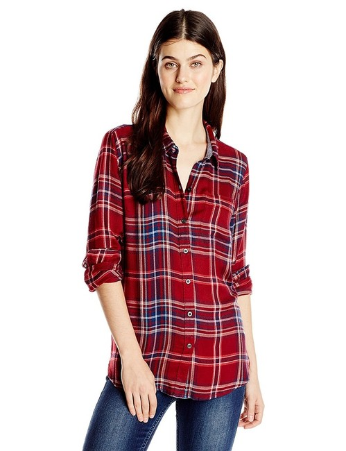 Lucky brand red plaid button down top size 12 l tradesy for Lucky brand button down shirts