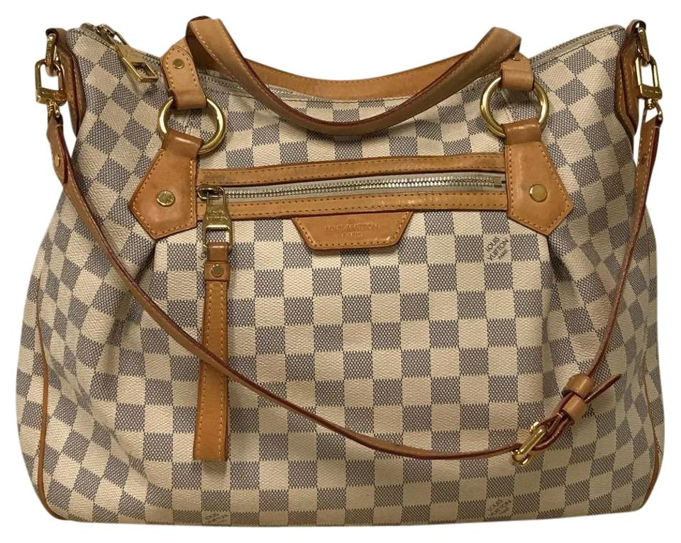 d1f9305df391 Louis Vuitton Evora Mm Damier Azur Tan Canvas Shoulder Bag - Tradesy