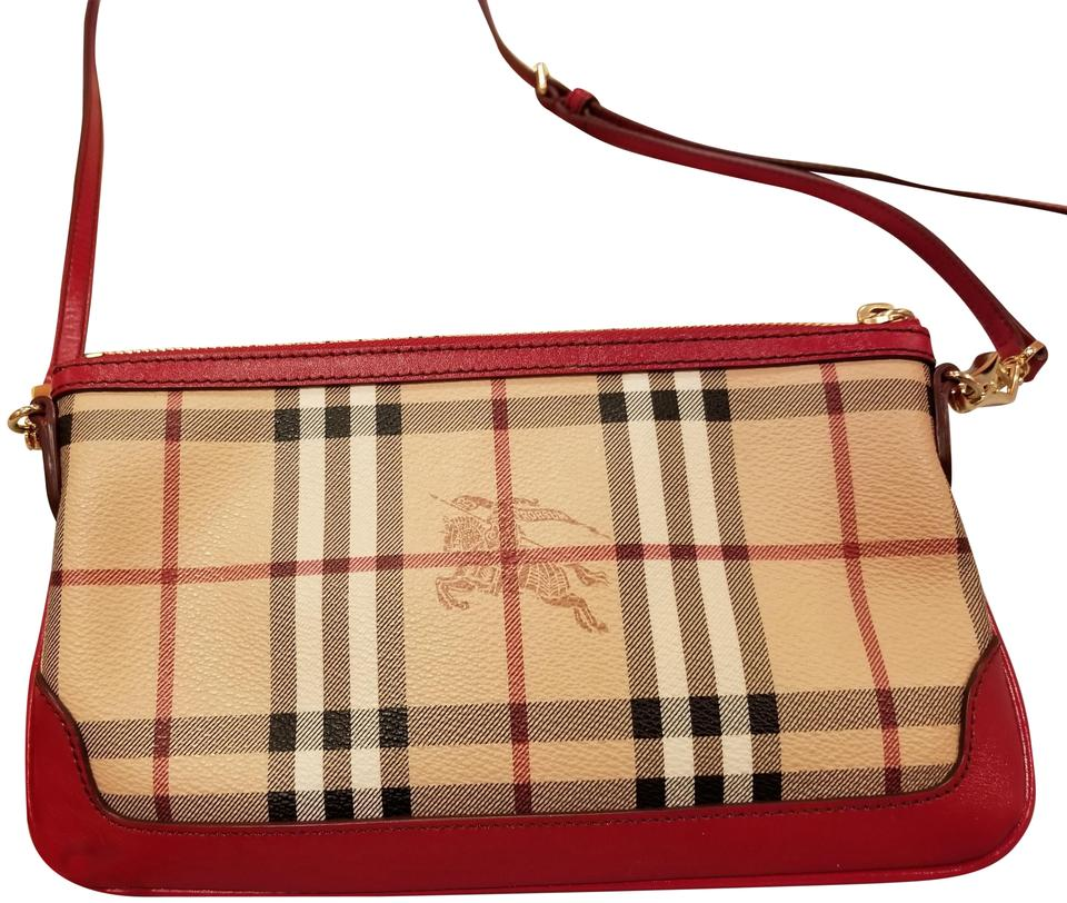 2afd566cd Burberry Peyton Haymarket Military Red Leather and Coated Canvas ...