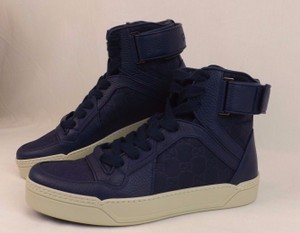 Gucci Blue Textured Leather Gg Guccissima Hi Top Sneakers 9 10 #409766 Shoes