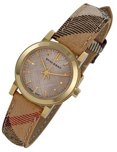 Burberry 100% New Authentic Burberry Gold Haymarket Check Strap 26mm BU9219