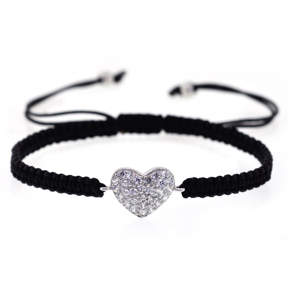 48e0f97bcb50c NY Collection Black Macrame Cz Heart Shape Charm 925 Sterling Silver Womens  Adjustable Bracelet 51% off retail