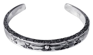 NY Collection Sterling 925 Oxidized Vintage Open Cuff Bangle Womens Bracelet 9mm