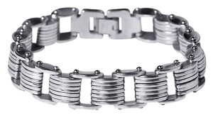 NY Collection Stainless Steel Bicycle Link Italian Style Mens Bracelet 15mm