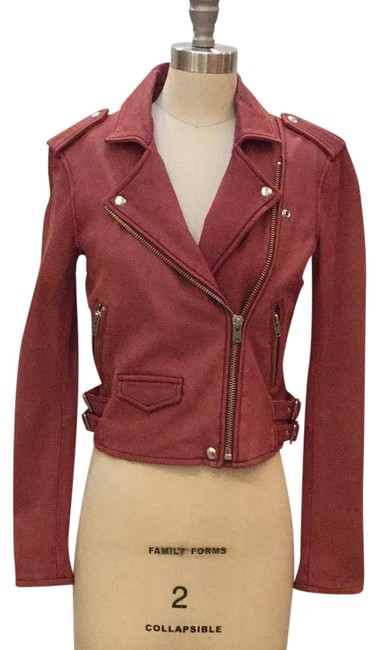 Item - Deep Rose Lamb Leather Biker Jacket Size 4 (S)