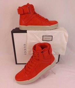 Gucci Red Textured Leather Gg Guccissima Hi Top Sneakers 11.5 12.5 #409766 Shoes