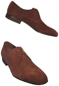 Salvatore Ferragamo Marte Suede Leather Dark Oxfords Brown Flats