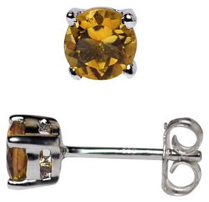 NY Collection Sterling Round Natural Citrine Quartz Push Back Womens Stud Earrings