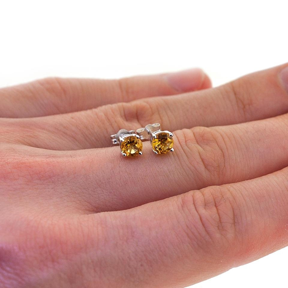 2 5 Mm Earrings: Silver Womens Round Citrine Push Back Stud 925 Sterling