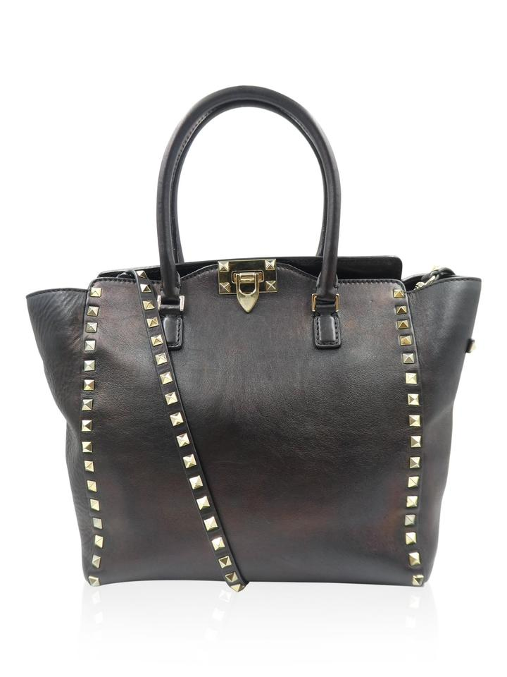 Valentino Rockstud Leather Satchel Tote In Black Iridescent