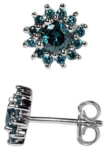 NY Collection Sterling Natural Blue Diamond Cluster Push Back Womens Stud Earrings