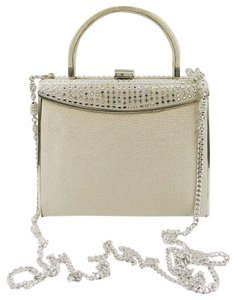St. John Satin Embellished Rhinestones Crystals Champagne Clutch