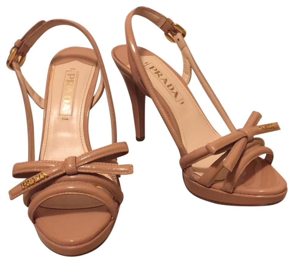 823f7036af6 Prada Patent Leather Nude Platform Multi Strap with Bow Sandals Size ...