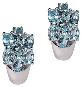 NY Collection Sterling 925 Oval Blue Topaz Cluster Womens Push Back Earrings