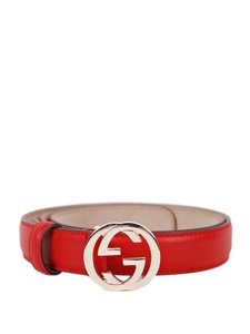 Gucci Gucci Red Leather Belt with Interlocking G Buckle 370717 Size 40