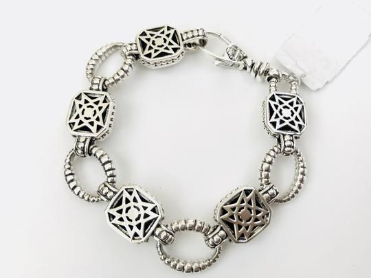 Lagos Sterling Silver Caviar Faceted Square Rocks Chain Link Bracelet