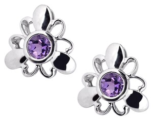 NY Collection Sterling 925 Natural Purple Amethyst Flower Push Back Womens Stud