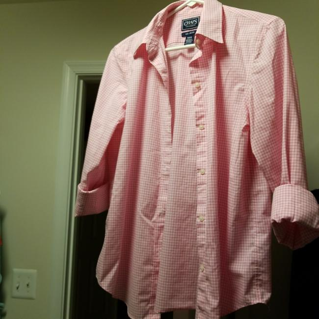 Chaps pink and white none button down top size 8 m tradesy for Chaps button down shirts