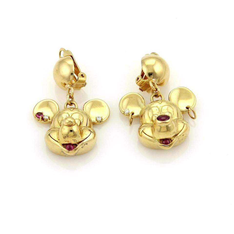 Other Mickey Mouse Dangle Diamonds Rubies 18k Yellow Gold Earrings