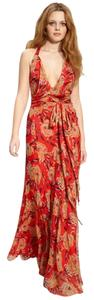 Red Coral Maxi Dress by Winter Kate Feminine Floral Chiffon Maxi