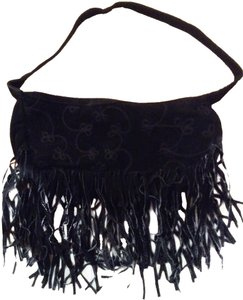Wilsons Leather Suede Fringed Embroidered Baguette