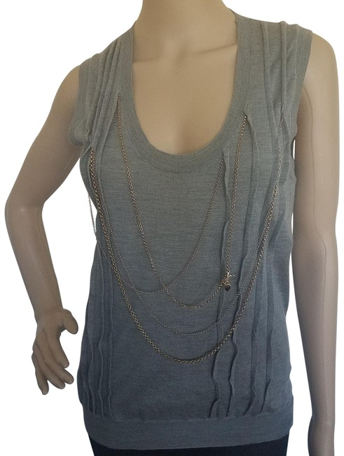 Item - Grey Gold Gold-tone Chain Embellished Knit Cashmere Blouse Size 8 (M)