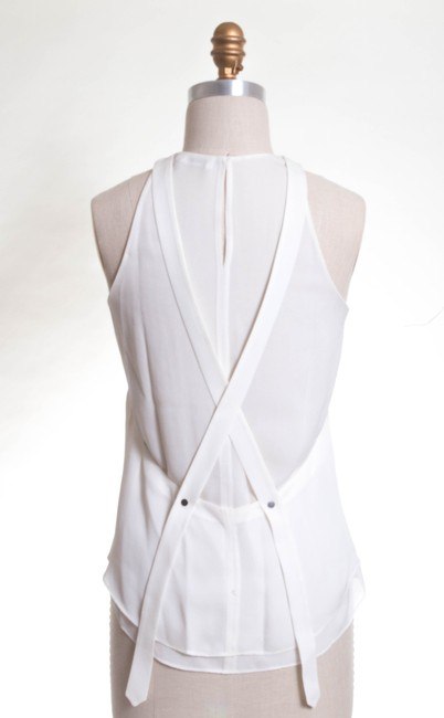 A.L.C. Flowy Silk Crisscross Strap Party Detail Top Egg White