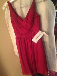 David's Bridal Red Chiffon Dress
