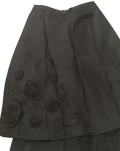 Laundry by Shelli Segal Embroidery Zipper A Line Skirt black
