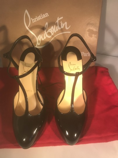 Christian Louboutin Heels Patent Leather Me Pam T Strap Black Sandals