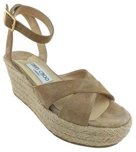 Jimmy Choo Espadrille Gold Hardware Logo Nude Wedges