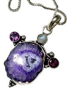 Other New Solar Quartz Amethyst Moonstone Gemstone Pendant 925 Silver J802