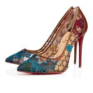 Christian Louboutin Follies Pigalle Lace Stiletto Classic brown Pumps