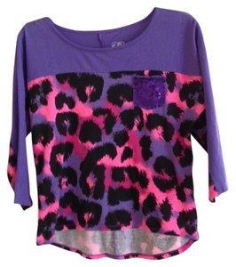 Justice T Shirt Purple, Black and Pink