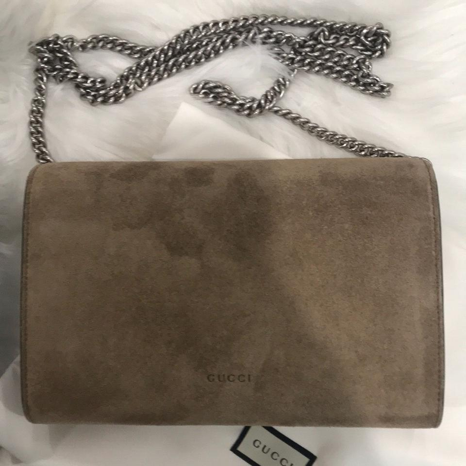 2c3cf101922 Gucci Dionysus Mini Chain Taupe Suede Leather Cross Body Bag - Tradesy