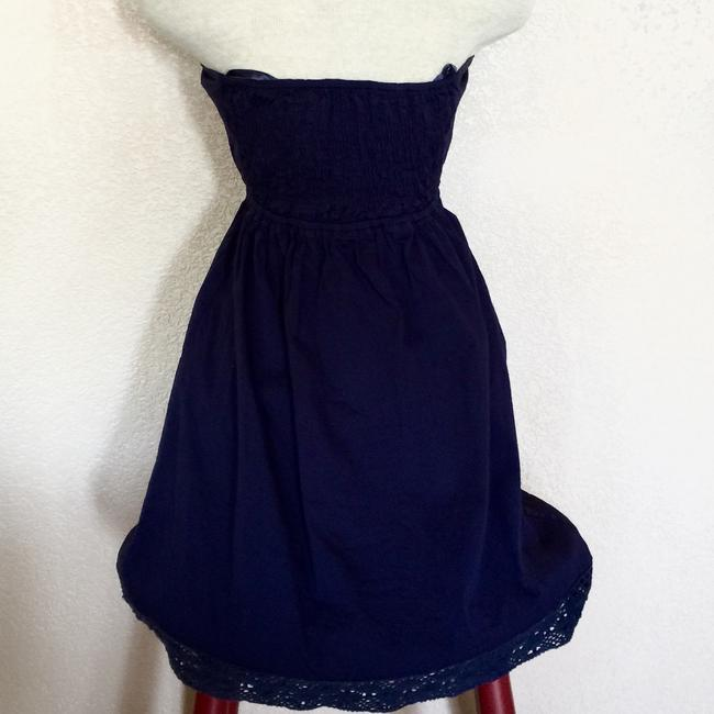 Judith March short dress Navy Cotton Blue Small Embroidery Stretch Strapless Sweetheart on Tradesy