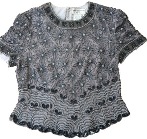 Papell Boutique Top GREY, BLACK , SILVER