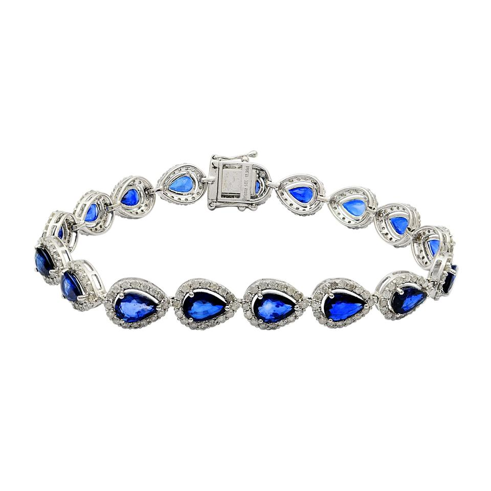 gold ladies bracelet diamond banque tcw sapphire white multi color products