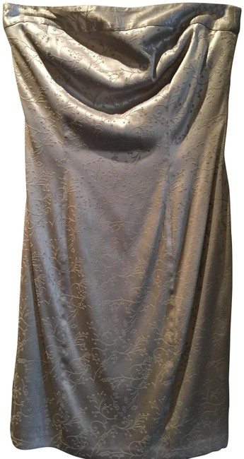 Item - Silver Strapless Stretch Mid-length Cocktail Dress Size 4 (S)