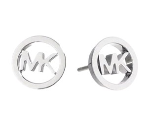 Michael Kors New Michael Kors Round Logo Stud Earrings with Dust Cover Silver