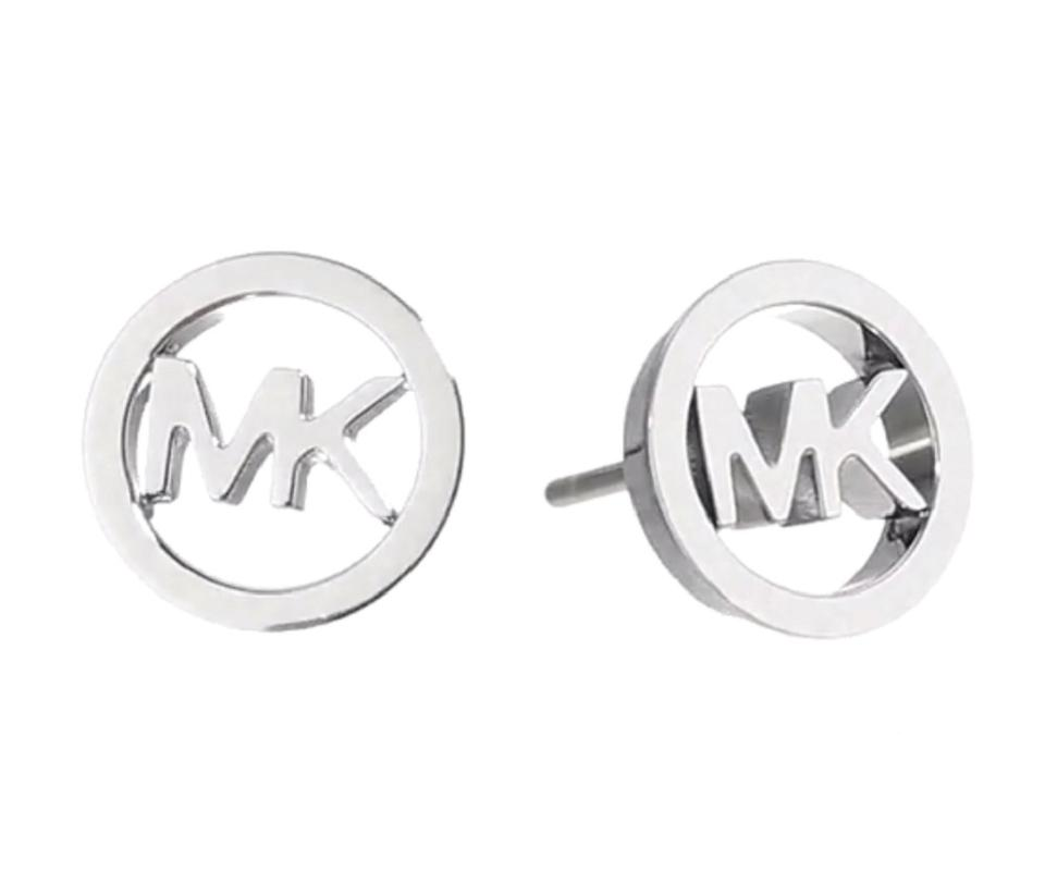 Michael Kors New Round Logo Stud Earrings With Dust Cover Silver