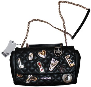 Moschino Leather Gold Hardware Casual Shoulder Bag