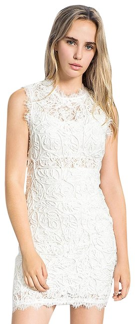 Item - White Sleeveless Embroidered Lace Short Cocktail Dress Size 4 (S)