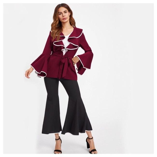 Other Ruffle Belted Top Dark Red