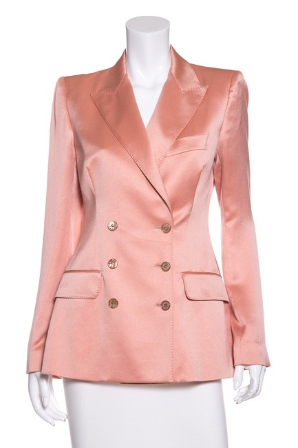 Item - Coral Silk Double-breasted Blazer Size 8 (M)